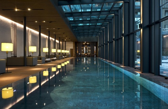 Chalet Chedi pool in Andermatt Switzerland