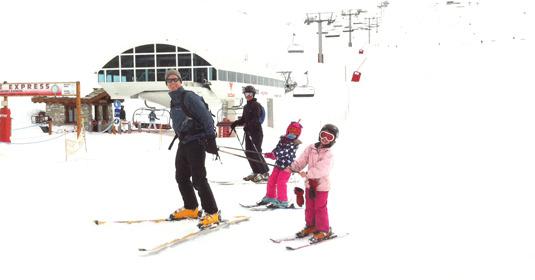 Skiing with the kids after lunch